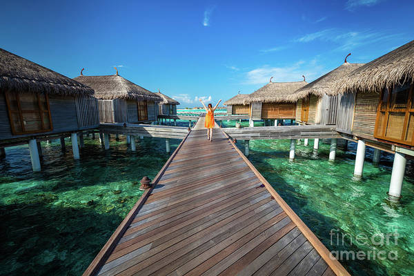 Wall Art - Photograph - Maldivian Resort With Cabins On Water by Michal Bednarek