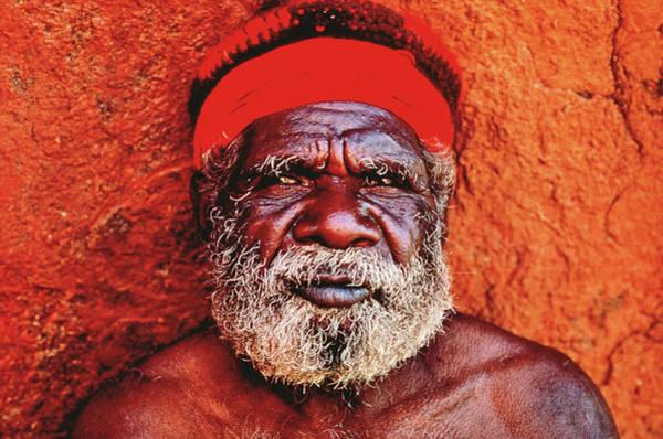 Headband Photograph - Male Aboriginal, Portrait by Pete Turner