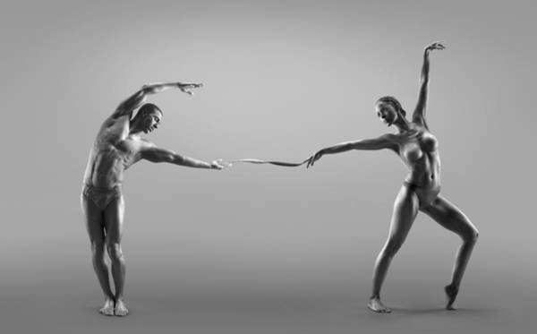 Shirtless Photograph - Male And Female Dancer Connected Through by Jonathan Knowles