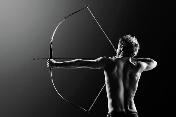 Upper Body Photograph - Male Archer Drawing Long Bow by Johan Swanepoel