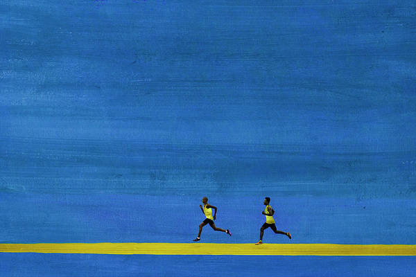 Endurance Race Photograph - Male Athletes Running In Big Graphic by Klaus Vedfelt