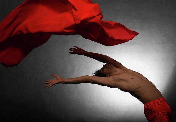 Montevideo Wall Art - Photograph - Male Ballet Dancer Dancing With A Red by Win-initiative/neleman