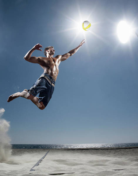 Shirtless Photograph - Male Beach Volleyball by Patrik Giardino