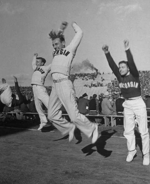 Photograph - Male Cheerleaders In Action At Wisconsin by Alfred Eisenstaedt