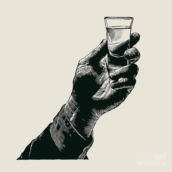 Wall Art - Digital Art - Male Hand Holding A Shot Of Alcohol by Jumpingsack