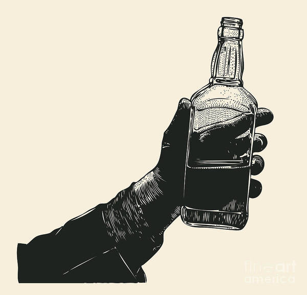 Scotch Wall Art - Digital Art - Male Hand Holding Bottle Of Whiskey by Jumpingsack