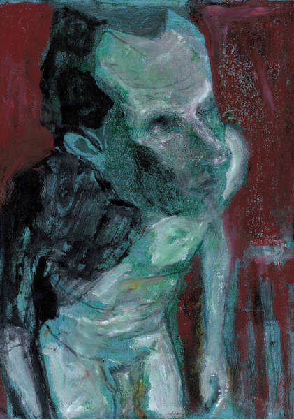 Painting - Male Nude Standing Crouched 1 by Artist Dot