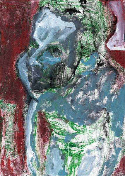 Painting - Male Nude Standing Crouched 8 by Artist Dot
