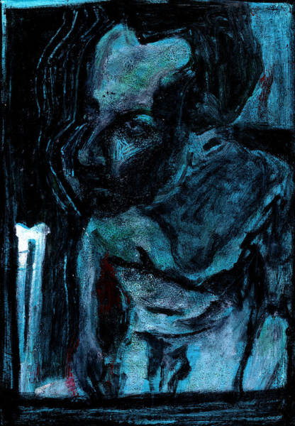 Digital Art - Male Nude Standing Crouched Blue Luminous Poster 9 by Artist Dot