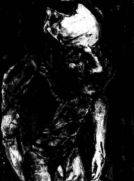 Digital Art - Male Nude Standing Crouched Monochrome 2 by Artist Dot