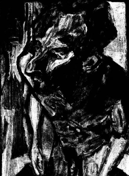 Digital Art - Male Nude Standing Crouched Monochrome 4 by Artist Dot