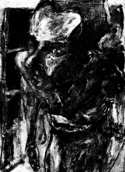 Digital Art - Male Nude Standing Crouched Monochrome 6 by Artist Dot