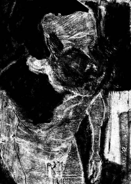 Digital Art - Male Nude Standing Crouched Monochrome 7 by Artist Dot