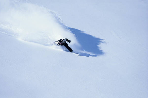 Snowfield Photograph - Male Off-piste Snowboarder On Fresh by Ross Woodhall