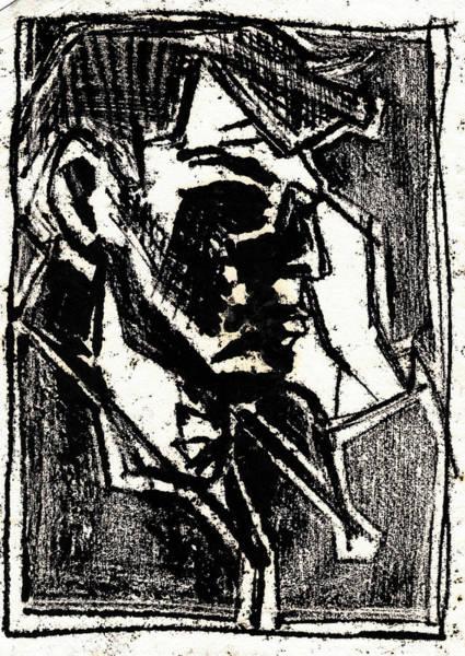 Drawing - Male Side Portrait Black Oil Drawing by Artist Dot