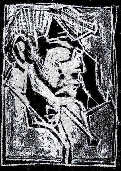 Digital Art - Male Side Portrait White On Black 1 by Artist Dot