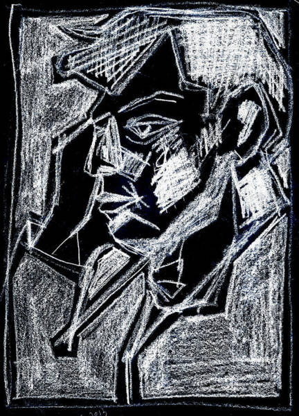 Digital Art - Male Side Portrait White On Black 2 by Artist Dot