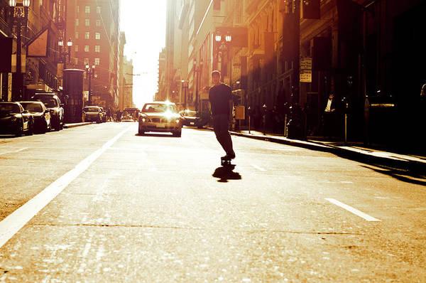 Skateboard Photograph - Male Skater Skateboarding Down Hill by Tian Jiang, Art Director And Photographer