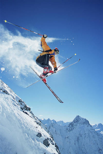 Alpine Skiing Photograph - Male Skier In Mid-air, Low Angle View by Jakob Helbig