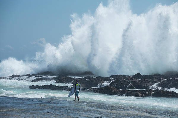 Wall Art - Photograph - Male Surfer Walking On The Coast, Coral by Panoramic Images
