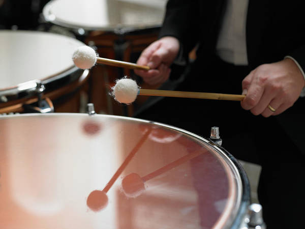 Human Hand Photograph - Male Timpanist Playing Kettledrums In by Michael Blann