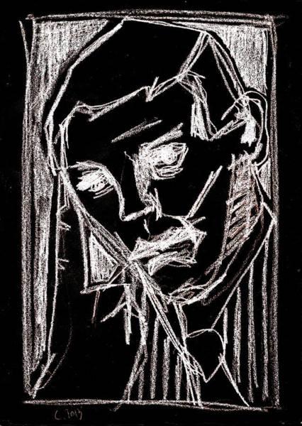 Digital Art - Male With A Tie Portrait White On Black 2 by Artist Dot