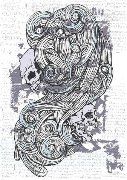 Maleficent Digital Art - Maleficent 1930 Skulls And Swirls by Passion Loft