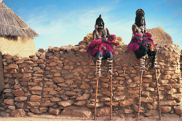 Tribe Photograph - Mali, Dogon Country, Two Male Stilt by Peter Adams