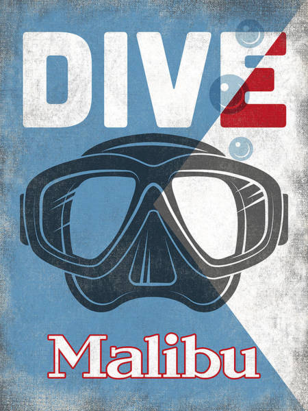 Scuba Digital Art - Malibu Vintage Scuba Diving Mask by Flo Karp