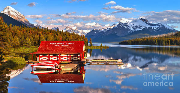 Photograph - Maligne Lake Blue Sky Afternoon. by Adam Jewell