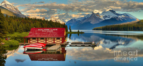 Photograph - Maligne Lake Boathouse In The Canadian Rockies by Adam Jewell