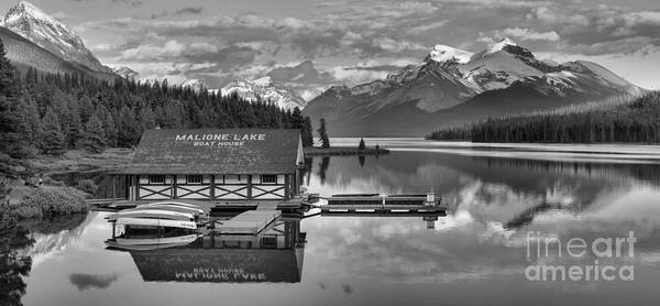 Photograph - Maligne Lake Boathouse In The Canadian Rockies Black And White by Adam Jewell
