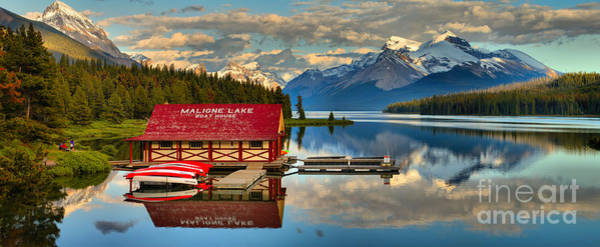 Photograph - Maligne Lake Calm Afternoon Panorama by Adam Jewell