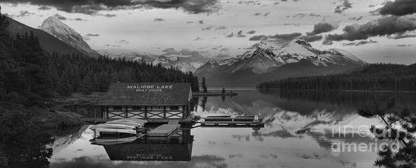 Photograph - Maligne Lake Glowing Peaks Black And White by Adam Jewell