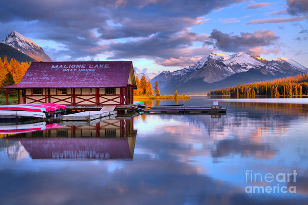 Photograph - Maligne Lake Pine Clouds And Golden Glow by Adam Jewell