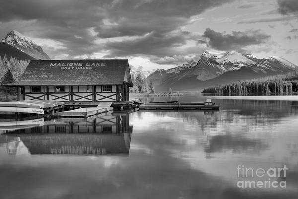 Photograph - Maligne Lake Pink Clouds And Golden Glow Black And White by Adam Jewell