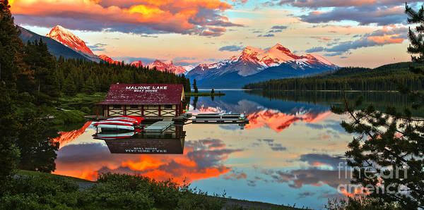 Photograph - Maligne Lake Sunset Through The Trees by Adam Jewell