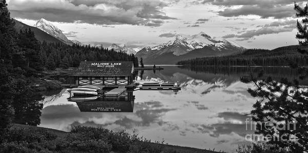 Photograph - Maligne Lake Sunset Through The Trees Black And White by Adam Jewell