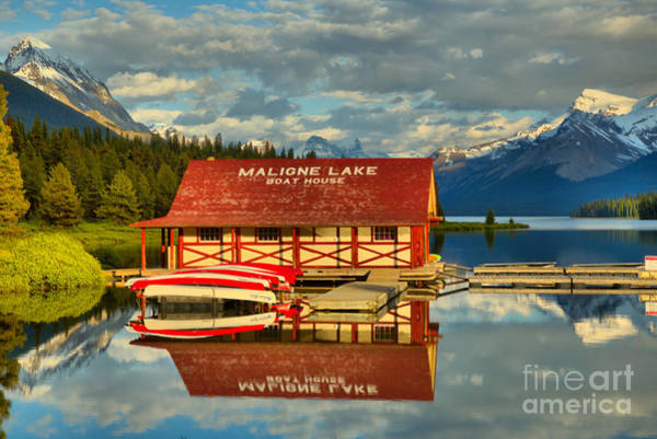 Photograph - Maligne Reflections Between The Peaks by Adam Jewell