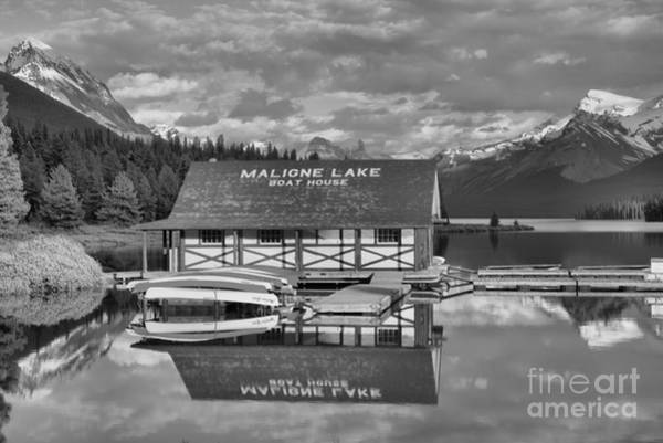 Photograph - Maligne Reflections Between The Peaks Black And White by Adam Jewell