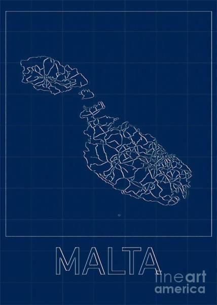 Digital Art - Malta Blueprint Map by Helge