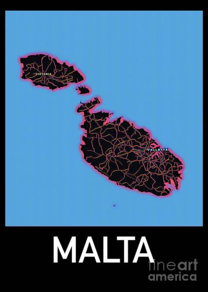 Digital Art - Malta Map by Helge