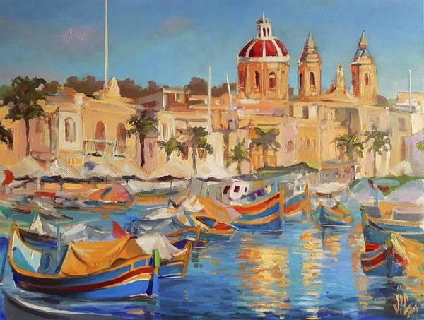 Wall Art - Painting - Malta Marsaxlokk The Fishing Village With Colourful Boats  by Vali Irina Ciobanu