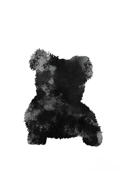 Wall Art - Painting - Maltese Black Grey Watercolor Painting Dog Art by Joanna Szmerdt