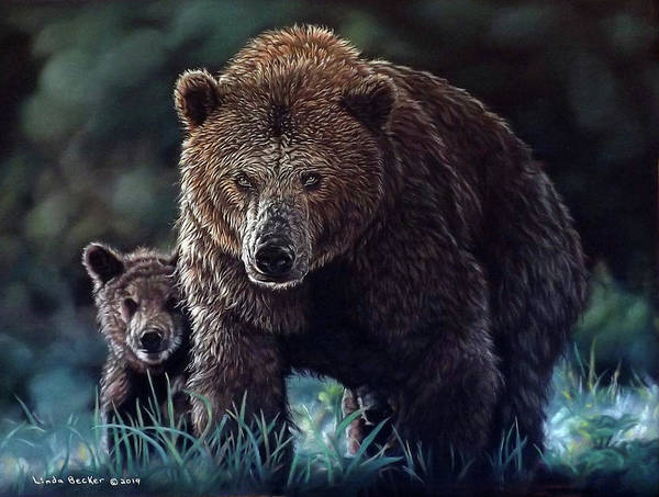 Painting - Mama Brown With Cubs by Linda Becker