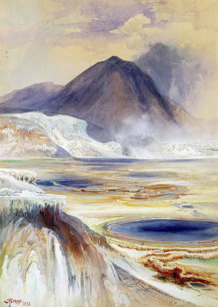 Wall Art - Painting - Mammoth Hot Springs, Yellowstone, 1872 by Thomas Moran