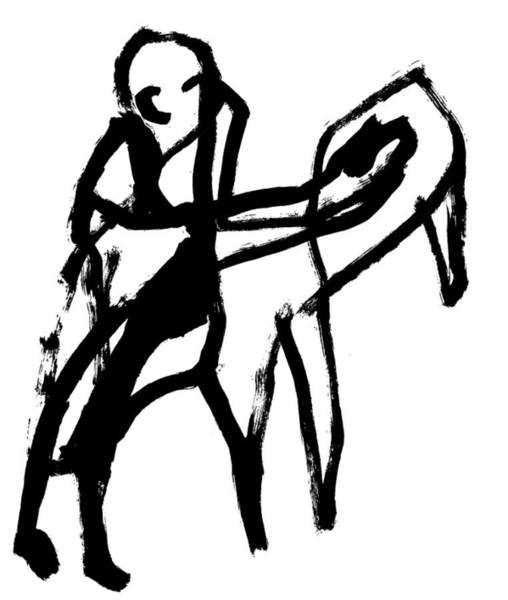 Drawing - Man And A Cow by Artist Dot