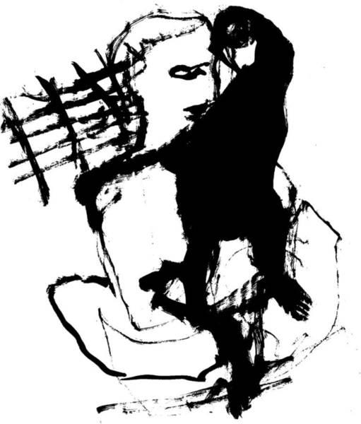 Wall Art - Drawing - Man And A Monkey by Artist Dot