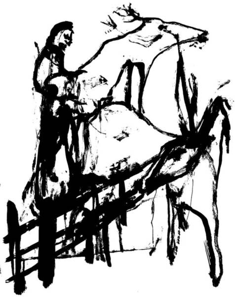 Wall Art - Drawing - Man And Deer by Artist Dot