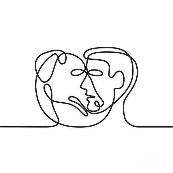Wall Art - Digital Art - Man And Dog Face Side Continuous Line  by Aloysius Patrimonio